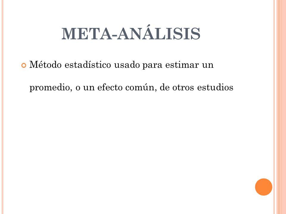 META-ANÁLISIS Método estadístico usado para estimar un promedio, o un efecto común, de otros estudios