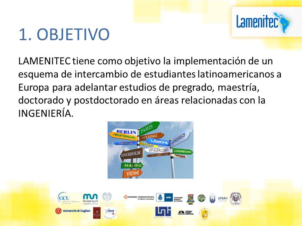 1. OBJETIVO LAMENITEC tiene como objetivo la implementación de un esquema de intercambio de estudiantes latinoamericanos a Europa para adelantar estud