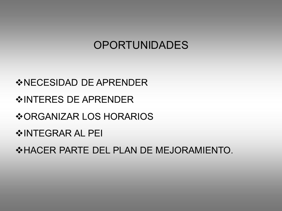 OPORTUNIDADES NECESIDAD DE APRENDER INTERES DE APRENDER ORGANIZAR LOS HORARIOS INTEGRAR AL PEI HACER PARTE DEL PLAN DE MEJORAMIENTO.