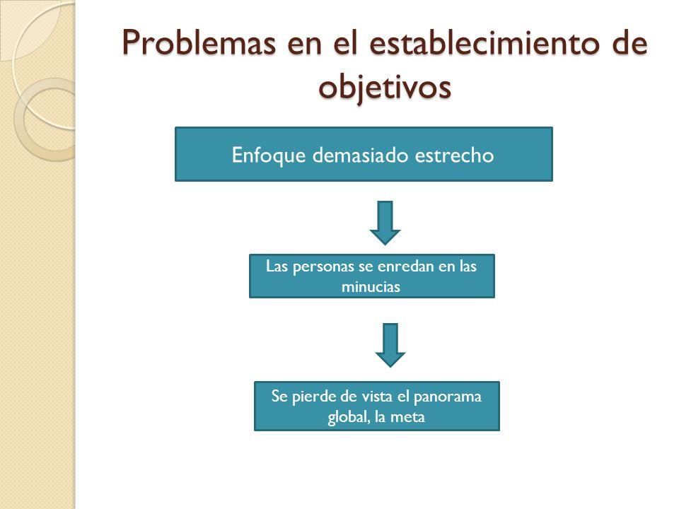Problemas en el establecimiento de objetivos Sistemas de retribución que resultan perjudiciales Mala orientación de los incentivos Cumplimiento de objetivos particulares, perjudican la meta del proyecto