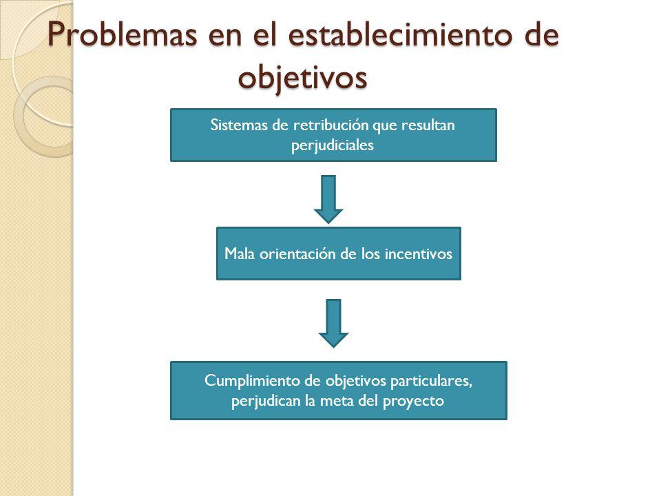 Problemas en el establecimiento de objetivos Responsabilidad sin suficiente autoridad Gerente del proyecto Gerente del departamento Deben coordinar y cooperar esfuerzos