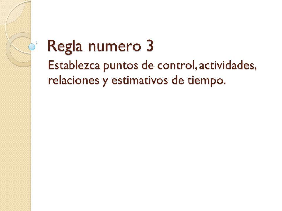 Regla numero 3 Establezca puntos de control, actividades, relaciones y estimativos de tiempo.