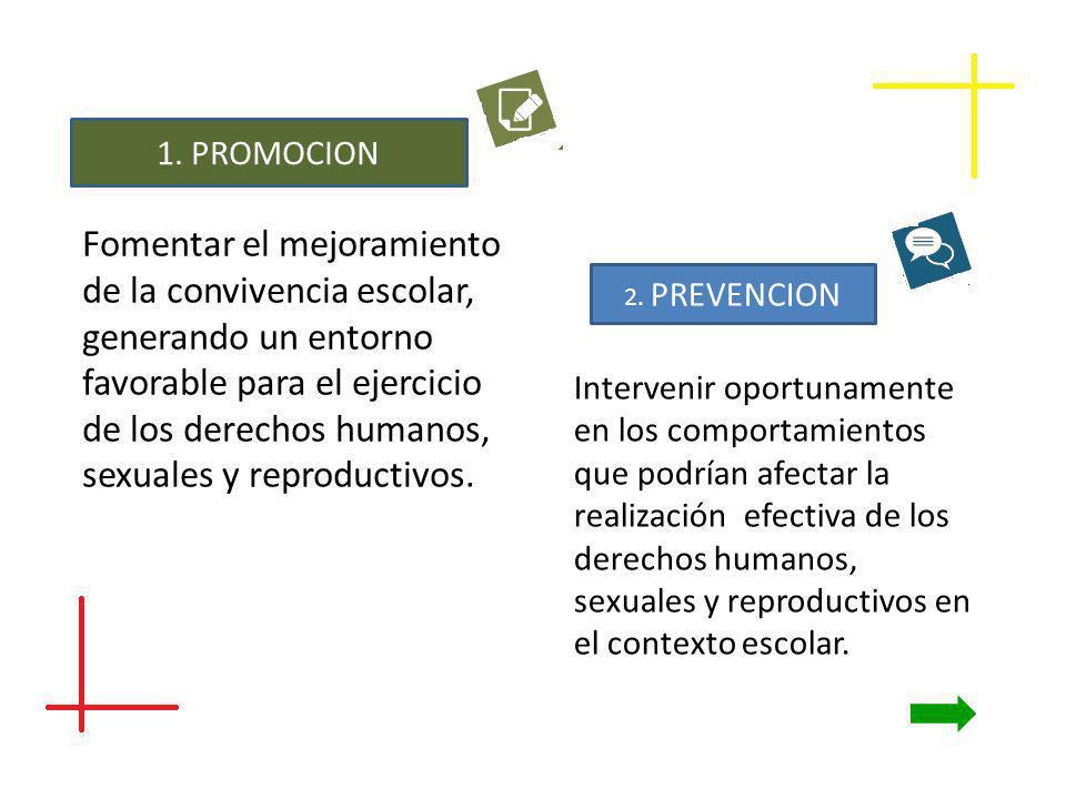 1. PROMOCION Fomentar el mejoramiento de la convivencia escolar, generando un entorno favorable para el ejercicio de los derechos humanos, sexuales y