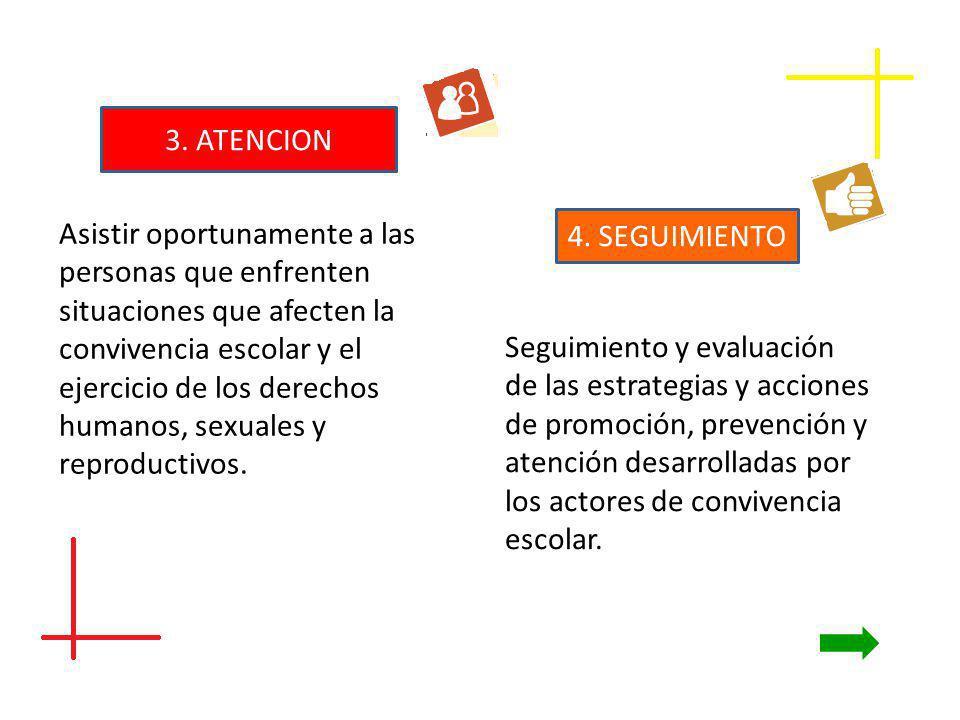 3. ATENCION Asistir oportunamente a las personas que enfrenten situaciones que afecten la convivencia escolar y el ejercicio de los derechos humanos,