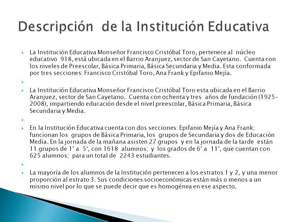 La Institución Educativa Monseñor Francisco Cristóbal Toro, pertenece al núcleo educativo 918, está ubicada en el Barrio Aranjuez, sector de San Cayet