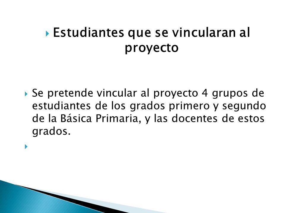 Estudiantes que se vincularan al proyecto Se pretende vincular al proyecto 4 grupos de estudiantes de los grados primero y segundo de la Básica Primar