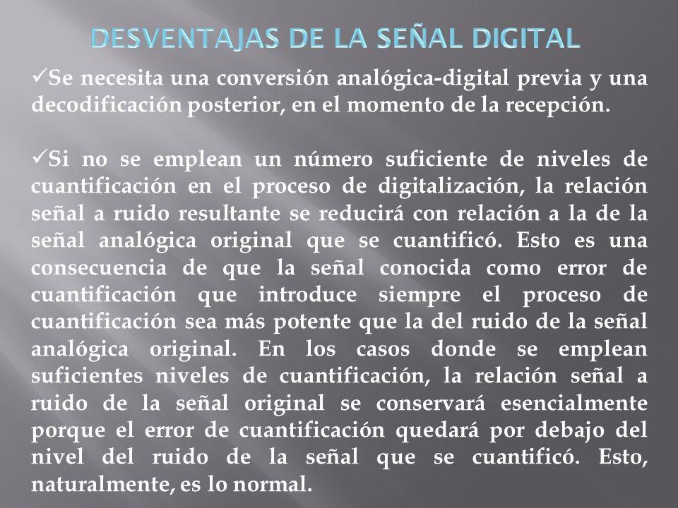 Se necesita una conversión analógica-digital previa y una decodificación posterior, en el momento de la recepción. Si no se emplean un número suficien