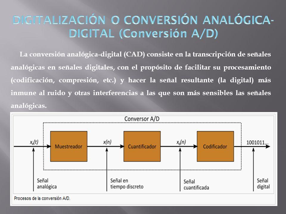 La conversión analógica-digital (CAD) consiste en la transcripción de señales analógicas en señales digitales, con el propósito de facilitar su proces