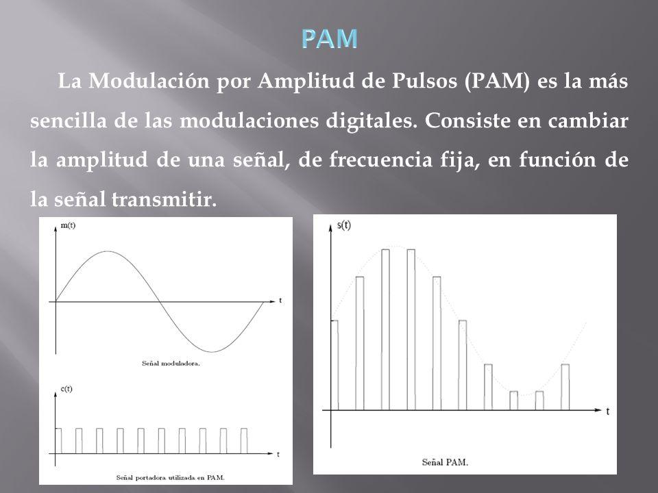 La Modulación por Amplitud de Pulsos (PAM) es la más sencilla de las modulaciones digitales. Consiste en cambiar la amplitud de una señal, de frecuenc