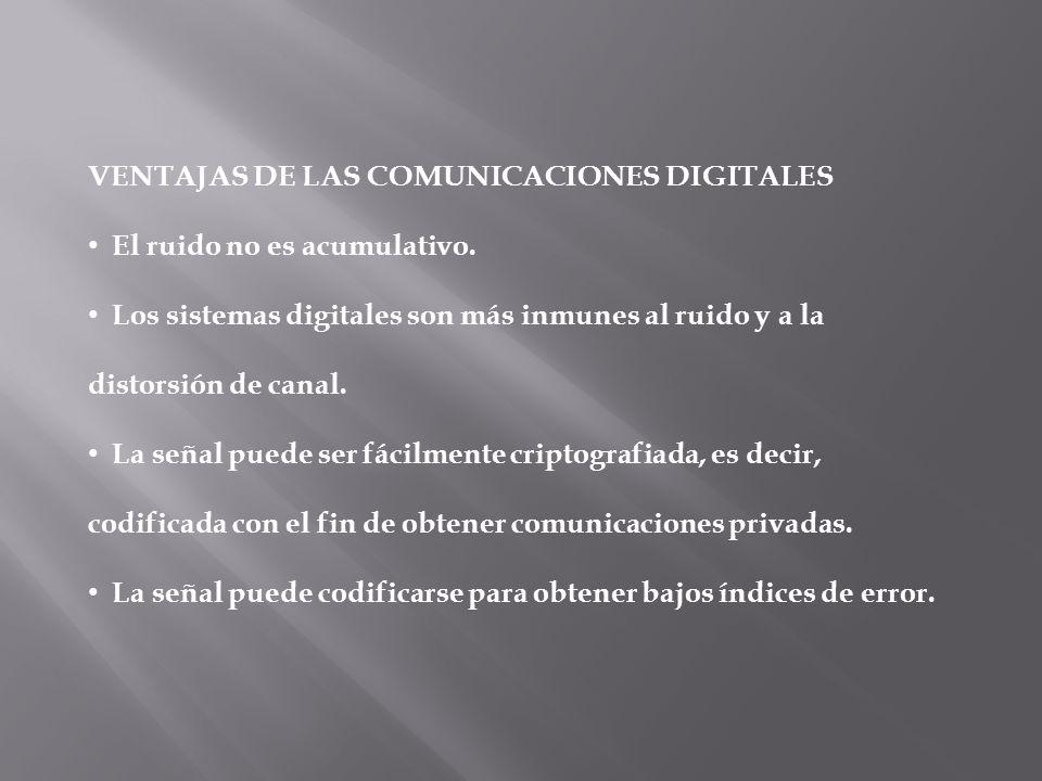 VENTAJAS DE LAS COMUNICACIONES DIGITALES El ruido no es acumulativo. Los sistemas digitales son más inmunes al ruido y a la distorsión de canal. La se