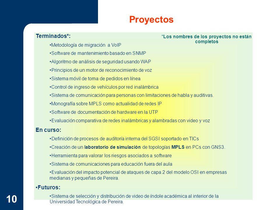 10 Proyectos Terminados*: Metodología de migración a VoIP Software de mantenimiento basado en SNMP Algoritmo de análisis de seguridad usando WAP Princ