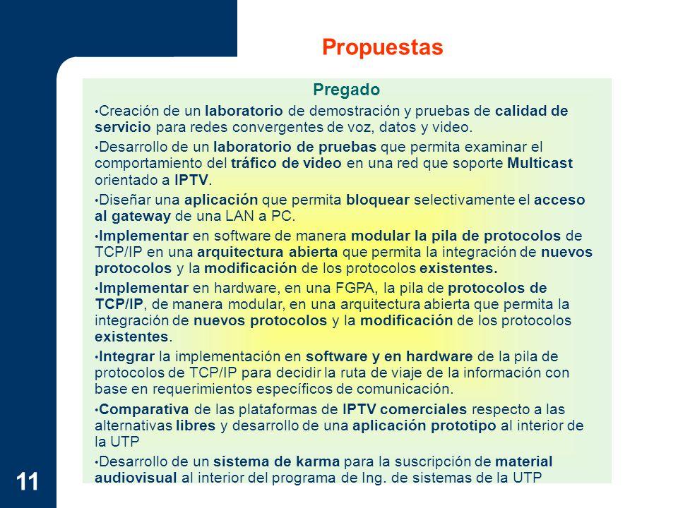 11 Propuestas Pregado Creación de un laboratorio de demostración y pruebas de calidad de servicio para redes convergentes de voz, datos y video. Desar