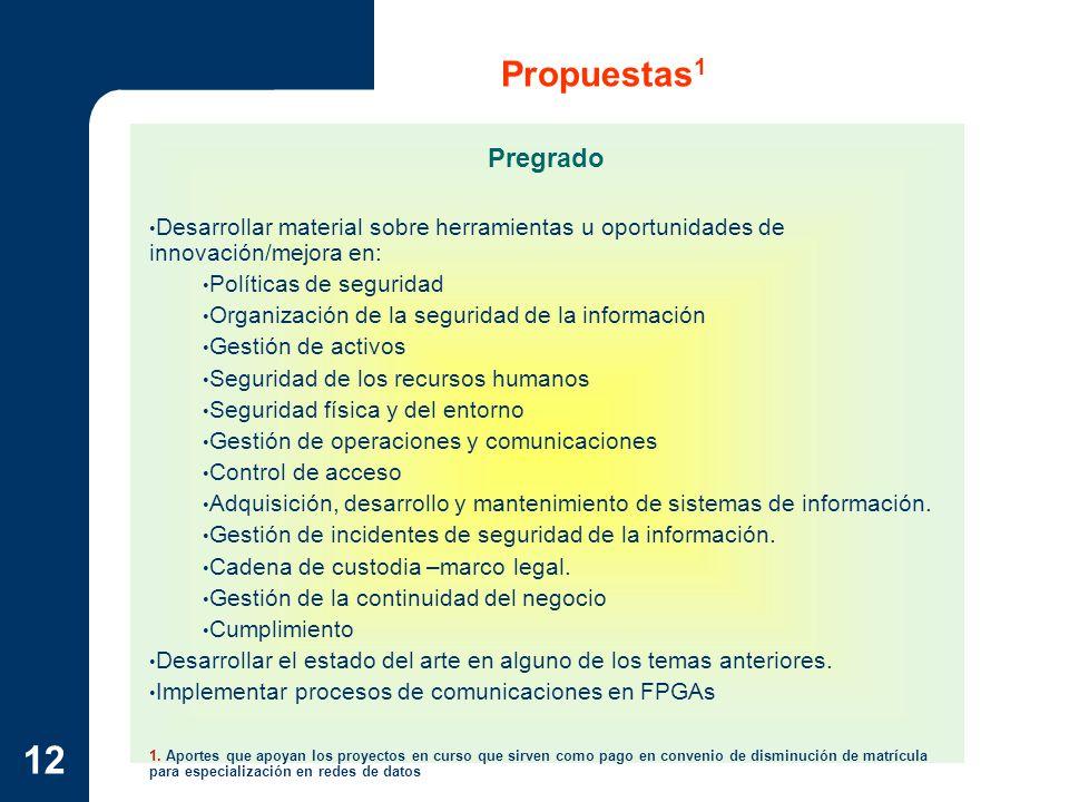 12 Propuestas 1 Pregrado Desarrollar material sobre herramientas u oportunidades de innovación/mejora en: Políticas de seguridad Organización de la se