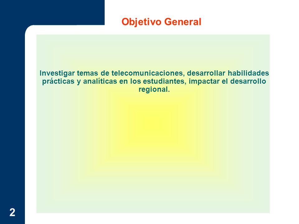 2 Objetivo General Investigar temas de telecomunicaciones, desarrollar habilidades prácticas y analíticas en los estudiantes, impactar el desarrollo r