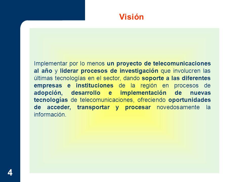 4 Visión Implementar por lo menos un proyecto de telecomunicaciones al año y liderar procesos de investigación que involucren las últimas tecnologías