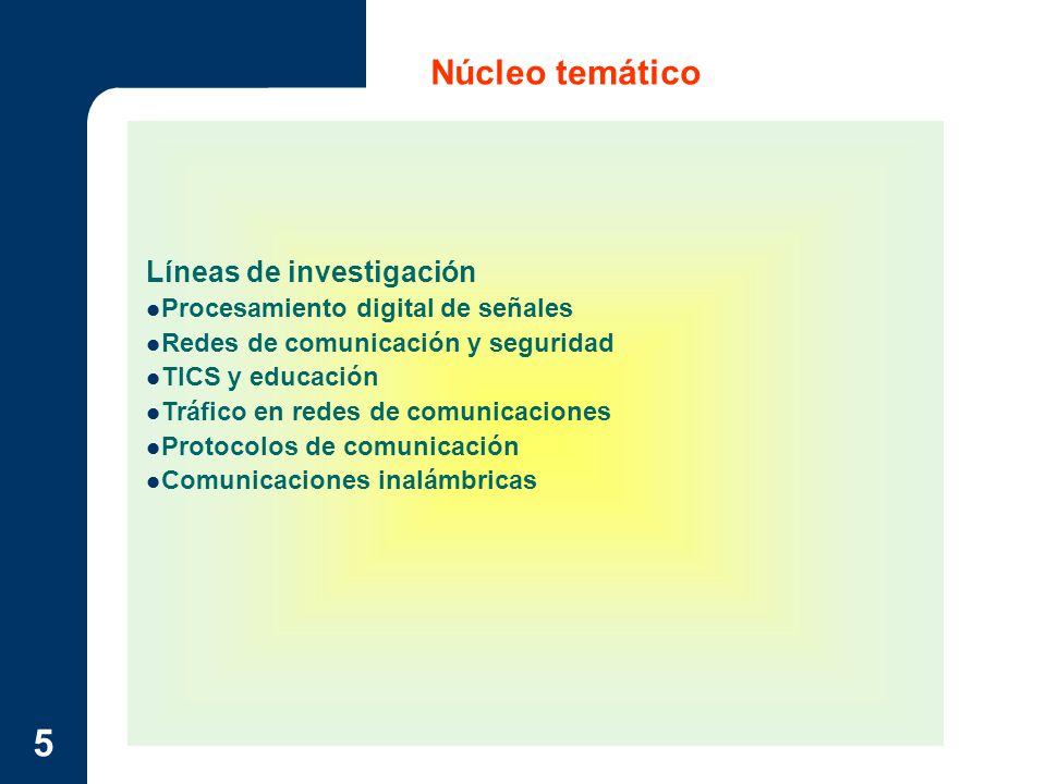 6 Núcleo temático Procesamiento digital de señales Estudiar tecnologías y mecanismos de procesamiento de señales para optimizarlos o usarlos como parte de aplicaciones novedosas que se apoyen en redes de datos, telecomunicaciones y procesamiento de señales analógicas.