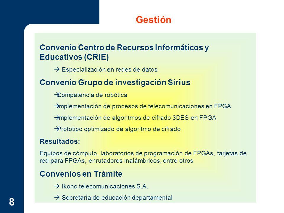 8 Gestión Convenio Centro de Recursos Informáticos y Educativos (CRIE) Especialización en redes de datos Convenio Grupo de investigación Sirius Compet