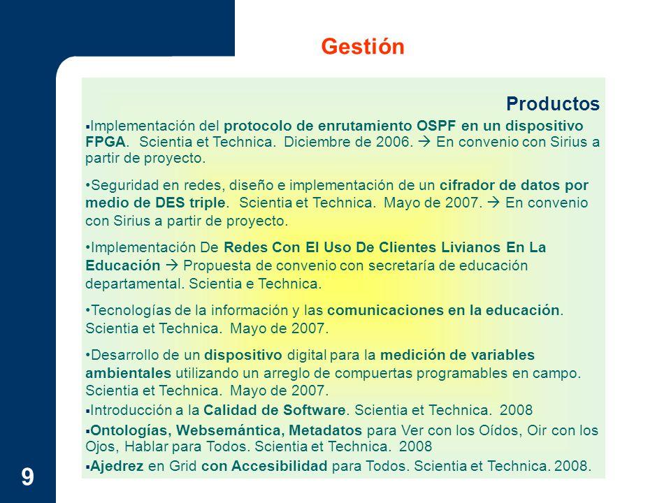 9 Gestión Productos Implementación del protocolo de enrutamiento OSPF en un dispositivo FPGA. Scientia et Technica. Diciembre de 2006. En convenio con