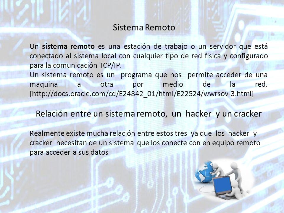 Sistema Remoto Un sistema remoto es una estación de trabajo o un servidor que está conectado al sistema local con cualquier tipo de red física y configurado para la comunicación TCP/IP.