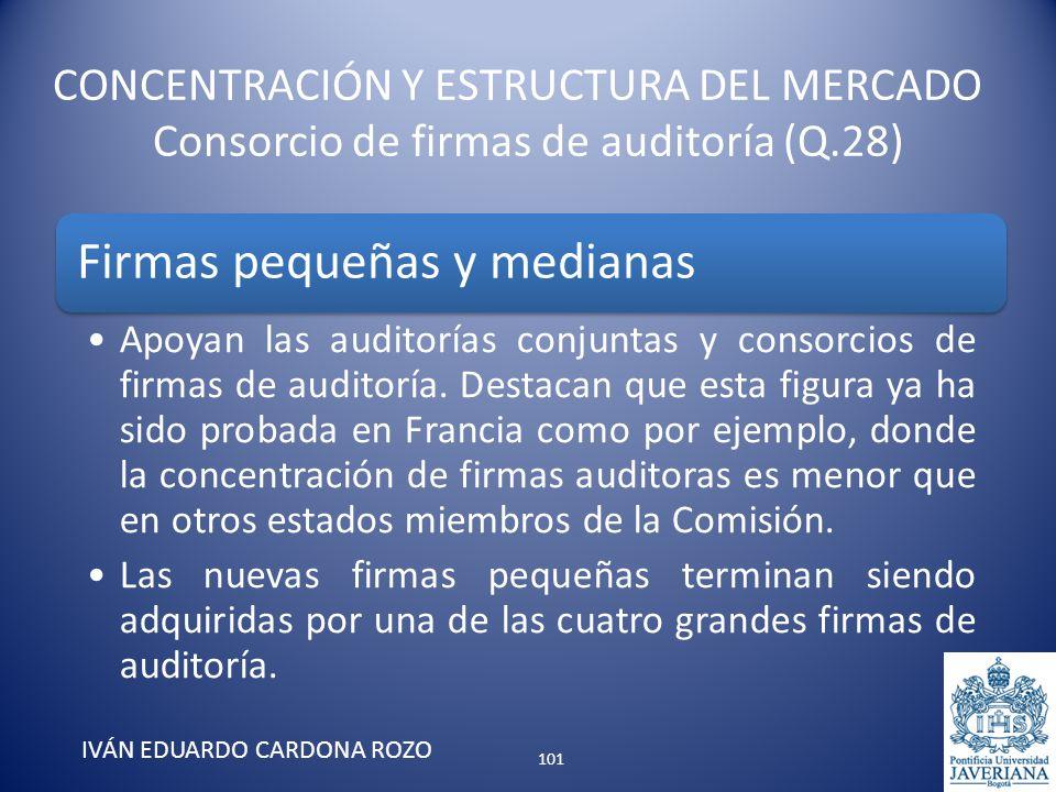 CONCENTRACIÓN Y ESTRUCTURA DEL MERCADO Consorcio de firmas de auditoría (Q.28) IVÁN EDUARDO CARDONA ROZO Firmas pequeñas y medianas Apoyan las auditor