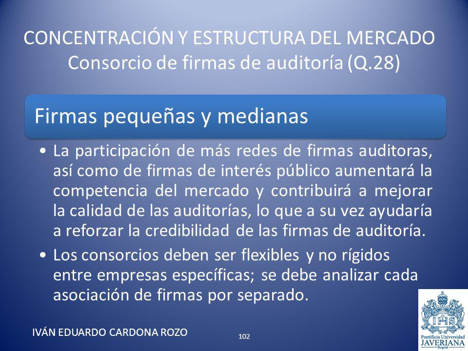 CONCENTRACIÓN Y ESTRUCTURA DEL MERCADO Consorcio de firmas de auditoría (Q.28) IVÁN EDUARDO CARDONA ROZO Firmas pequeñas y medianas La participación d