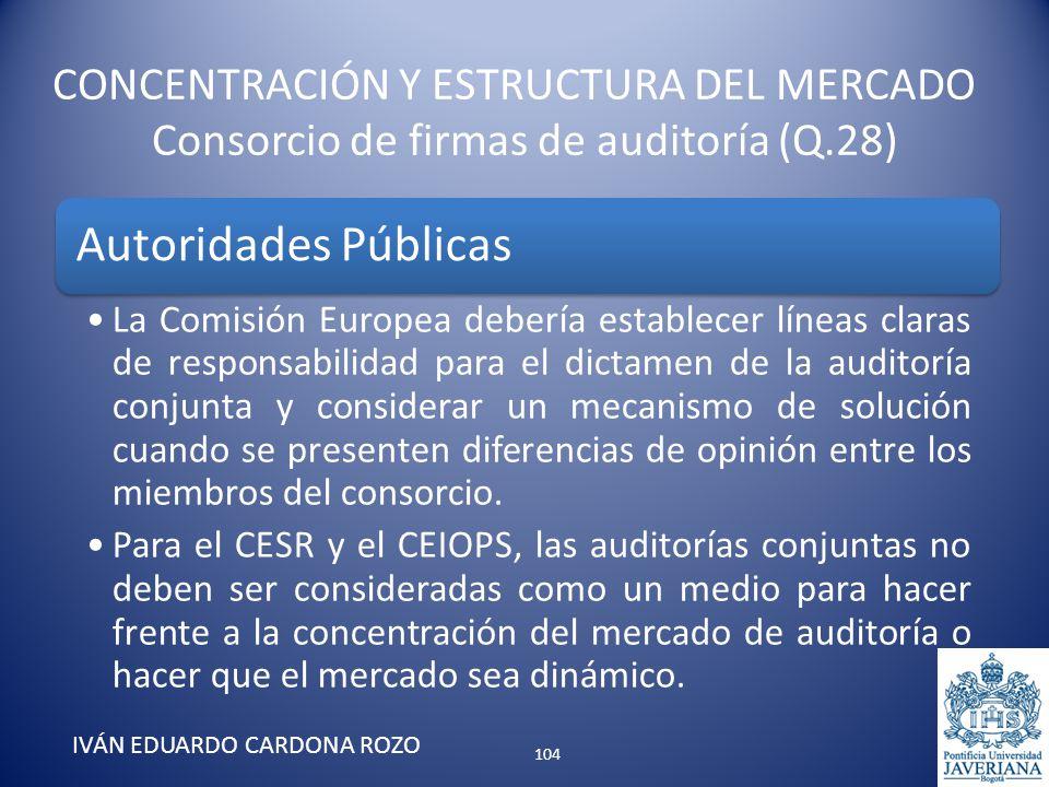 CONCENTRACIÓN Y ESTRUCTURA DEL MERCADO Consorcio de firmas de auditoría (Q.28) IVÁN EDUARDO CARDONA ROZO Autoridades Públicas La Comisión Europea debe
