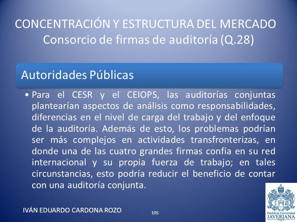 CONCENTRACIÓN Y ESTRUCTURA DEL MERCADO Consorcio de firmas de auditoría (Q.28) IVÁN EDUARDO CARDONA ROZO Autoridades Públicas Para el CESR y el CEIOPS