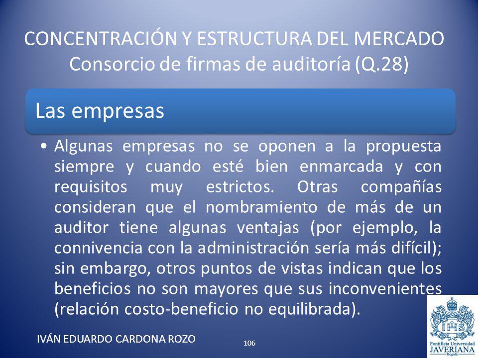CONCENTRACIÓN Y ESTRUCTURA DEL MERCADO Consorcio de firmas de auditoría (Q.28) IVÁN EDUARDO CARDONA ROZO Las empresas Algunas empresas no se oponen a