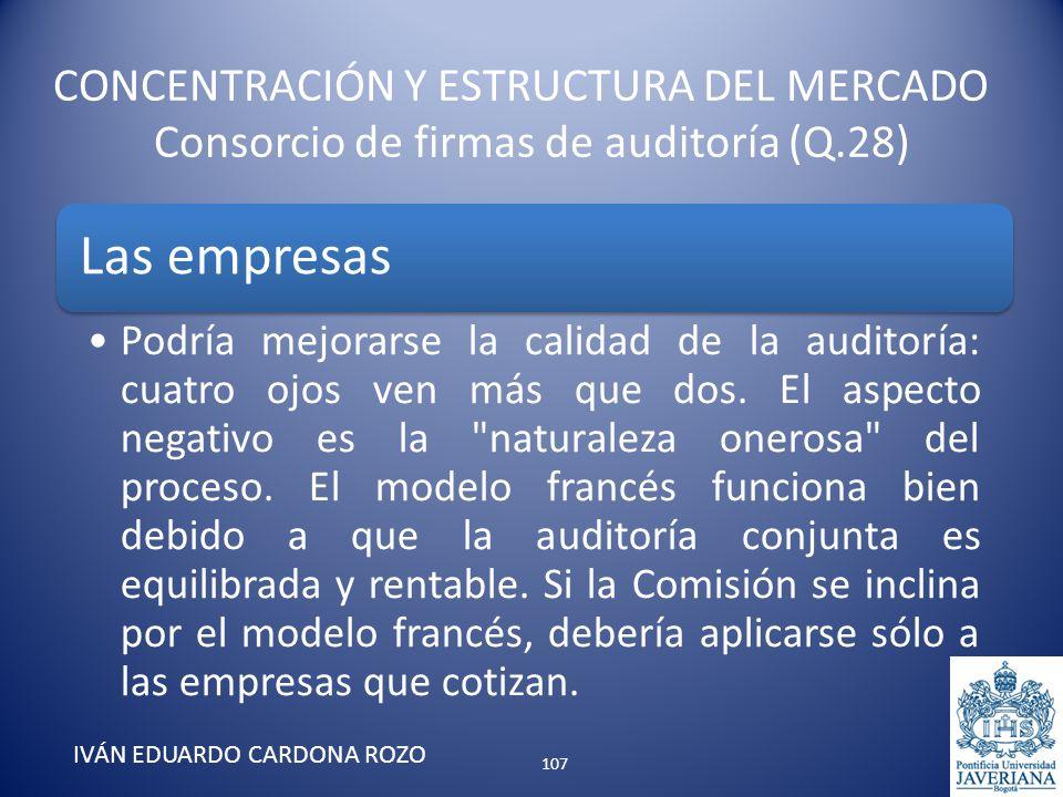 CONCENTRACIÓN Y ESTRUCTURA DEL MERCADO Consorcio de firmas de auditoría (Q.28) IVÁN EDUARDO CARDONA ROZO Las empresas Podría mejorarse la calidad de l