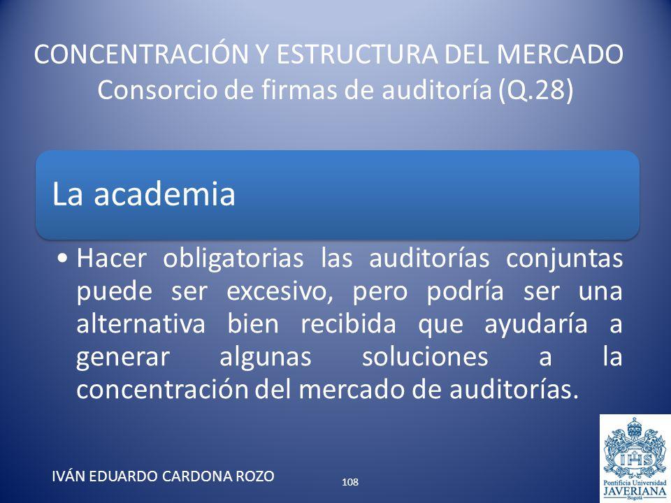 CONCENTRACIÓN Y ESTRUCTURA DEL MERCADO Consorcio de firmas de auditoría (Q.28) IVÁN EDUARDO CARDONA ROZO La academia Hacer obligatorias las auditorías