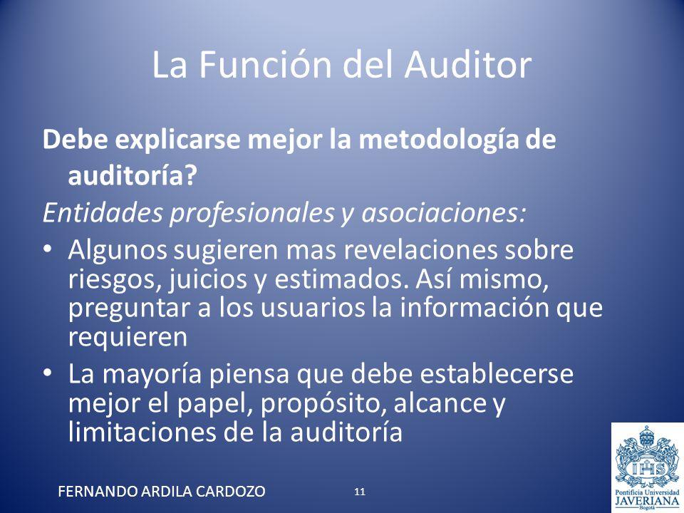 La Función del Auditor Debe explicarse mejor la metodología de auditoría? Entidades profesionales y asociaciones: Algunos sugieren mas revelaciones so