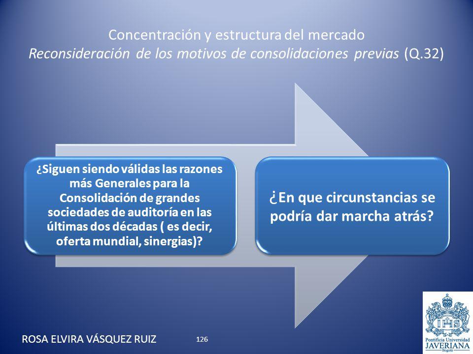 Concentración y estructura del mercado Reconsideración de los motivos de consolidaciones previas (Q.32) ¿ Siguen siendo válidas las razones más Genera