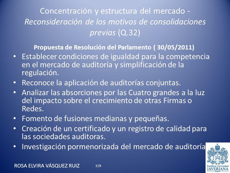 Concentración y estructura del mercado - Reconsideración de los motivos de consolidaciones previas (Q.32) ROSA ELVIRA VÁSQUEZ RUIZ Propuesta de Resolu