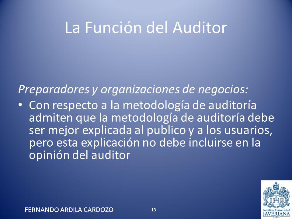 La Función del Auditor Preparadores y organizaciones de negocios: Con respecto a la metodología de auditoría admiten que la metodología de auditoría d