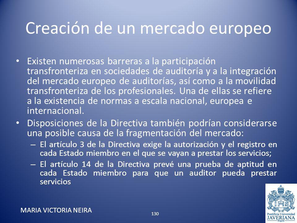 Creación de un mercado europeo Existen numerosas barreras a la participación transfronteriza en sociedades de auditoría y a la integración del mercado