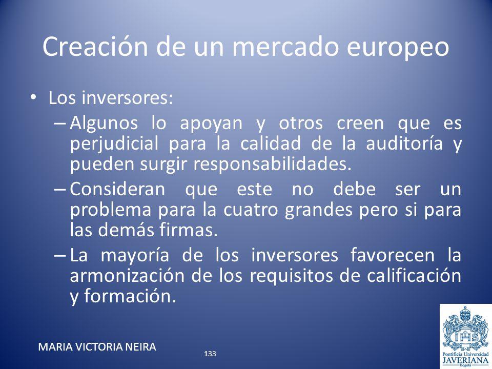 Creación de un mercado europeo Los inversores: – Algunos lo apoyan y otros creen que es perjudicial para la calidad de la auditoría y pueden surgir re