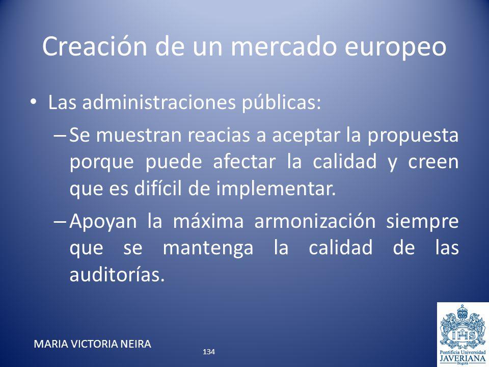 Creación de un mercado europeo Las administraciones públicas: – Se muestran reacias a aceptar la propuesta porque puede afectar la calidad y creen que
