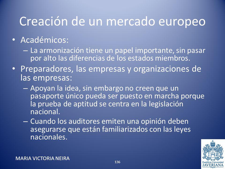 Creación de un mercado europeo Académicos: – La armonización tiene un papel importante, sin pasar por alto las diferencias de los estados miembros. Pr