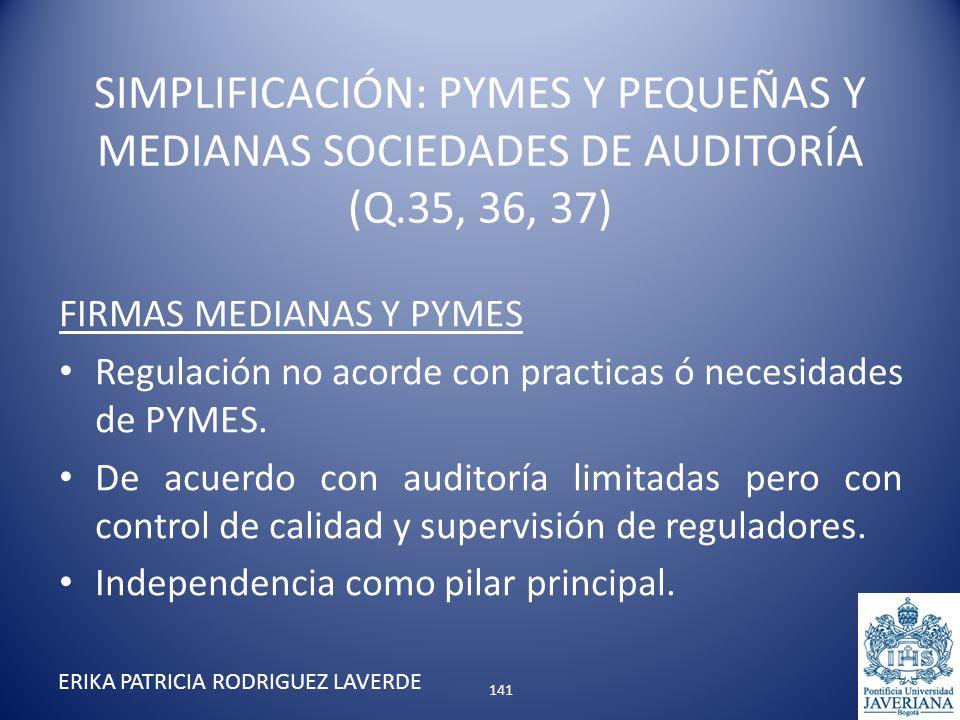 FIRMAS MEDIANAS Y PYMES Regulación no acorde con practicas ó necesidades de PYMES. De acuerdo con auditoría limitadas pero con control de calidad y su