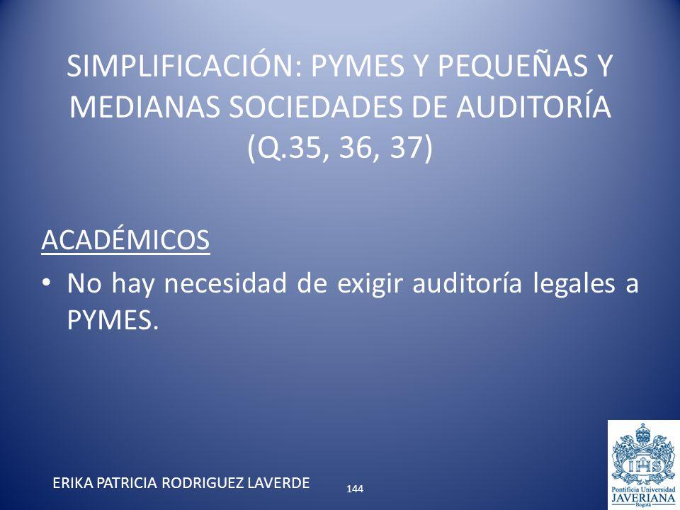 ACADÉMICOS No hay necesidad de exigir auditoría legales a PYMES. ERIKA PATRICIA RODRIGUEZ LAVERDE SIMPLIFICACIÓN: PYMES Y PEQUEÑAS Y MEDIANAS SOCIEDAD