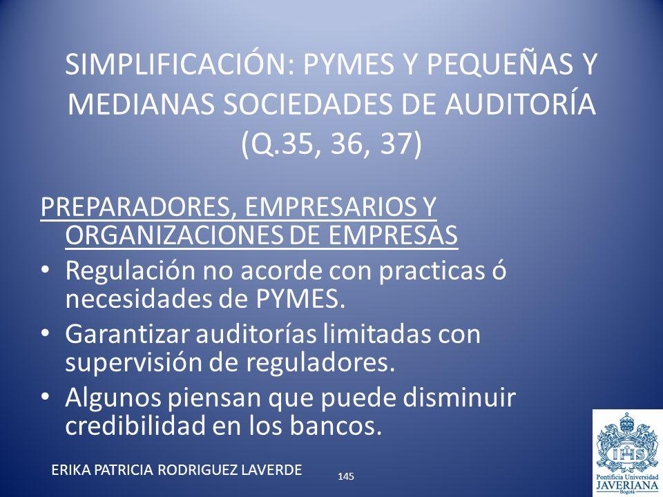 PREPARADORES, EMPRESARIOS Y ORGANIZACIONES DE EMPRESAS Regulación no acorde con practicas ó necesidades de PYMES. Garantizar auditorías limitadas con