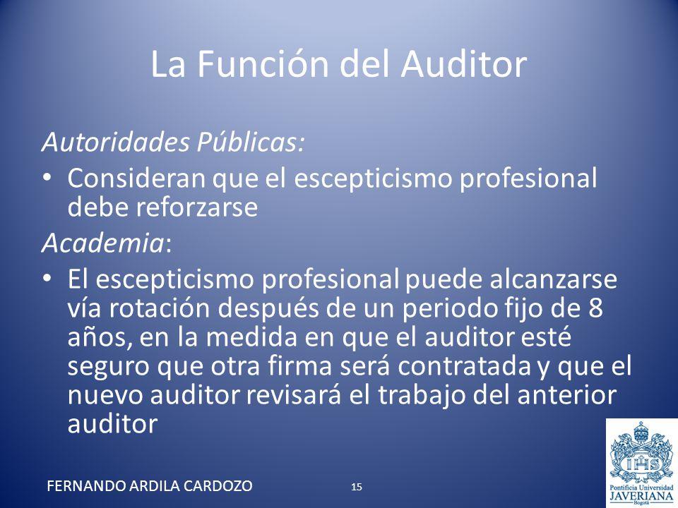 La Función del Auditor Autoridades Públicas: Consideran que el escepticismo profesional debe reforzarse Academia: El escepticismo profesional puede al
