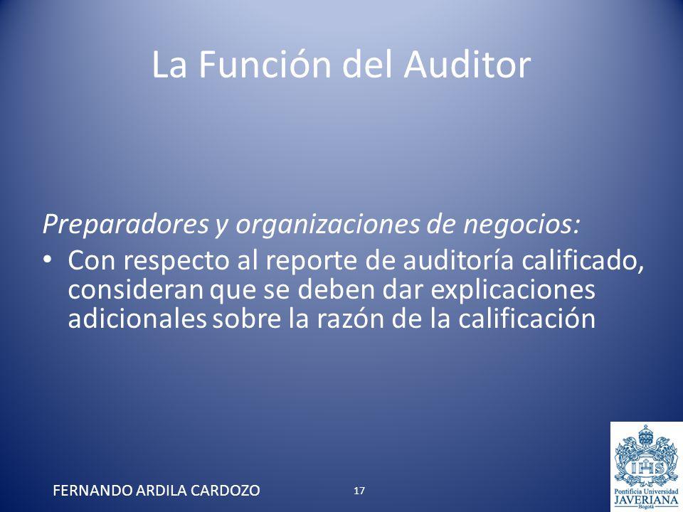 La Función del Auditor Preparadores y organizaciones de negocios: Con respecto al reporte de auditoría calificado, consideran que se deben dar explica