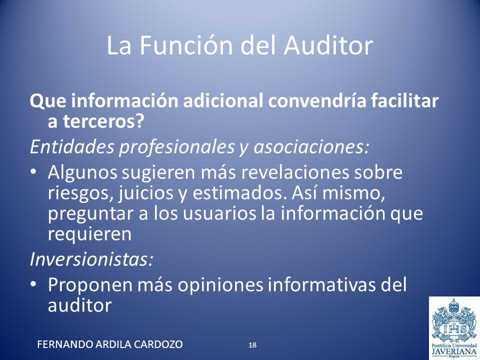 La Función del Auditor Que información adicional convendría facilitar a terceros? Entidades profesionales y asociaciones: Algunos sugieren más revelac