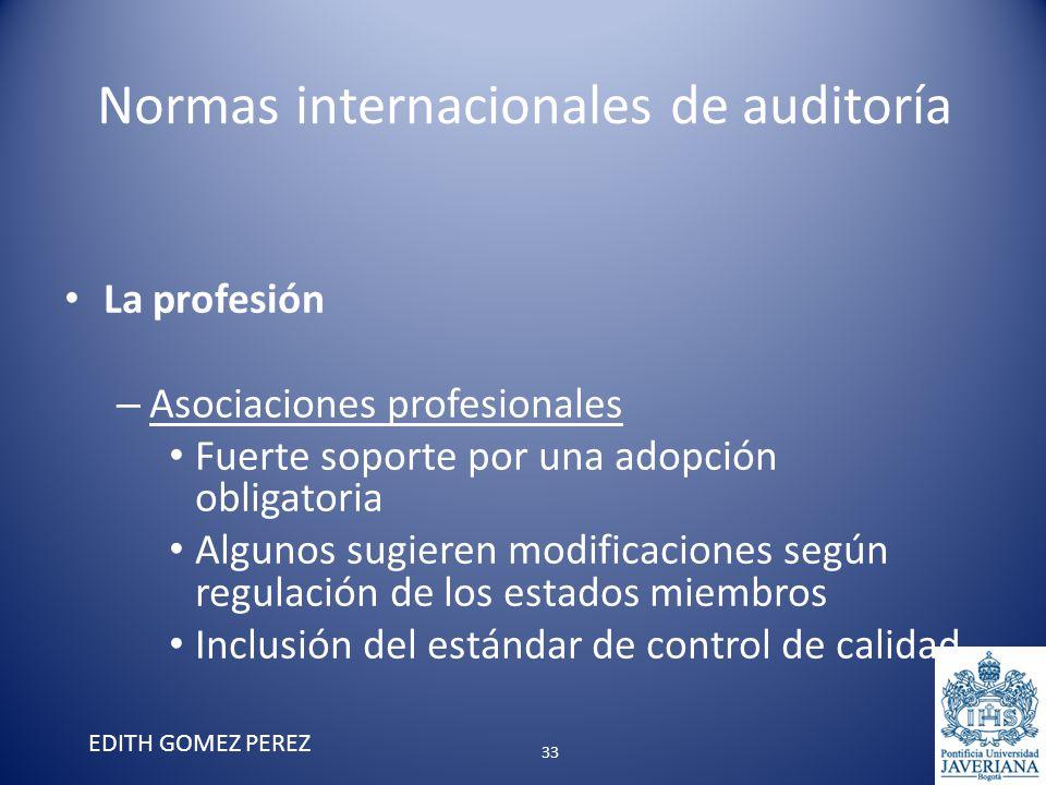 Normas internacionales de auditoría La profesión – Asociaciones profesionales Fuerte soporte por una adopción obligatoria Algunos sugieren modificacio