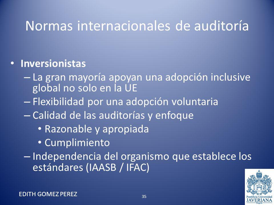 Normas internacionales de auditoría Inversionistas – La gran mayoría apoyan una adopción inclusive global no solo en la UE – Flexibilidad por una adop