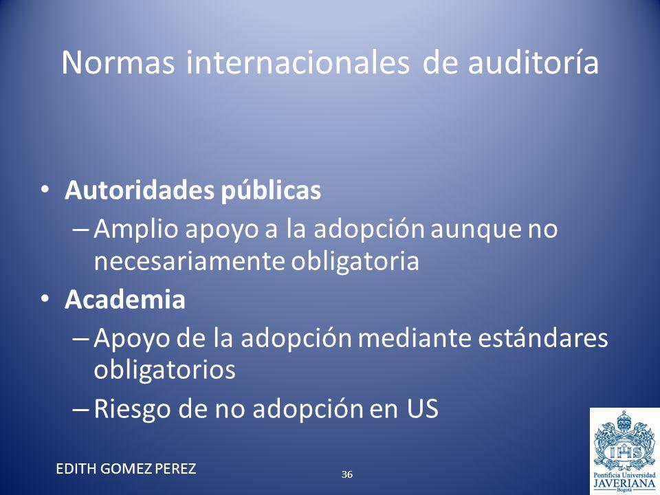 Normas internacionales de auditoría Autoridades públicas – Amplio apoyo a la adopción aunque no necesariamente obligatoria Academia – Apoyo de la adop