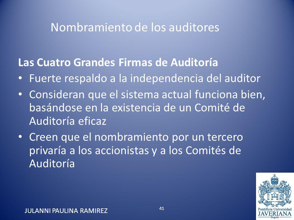 Las Cuatro Grandes Firmas de Auditoría Fuerte respaldo a la independencia del auditor Consideran que el sistema actual funciona bien, basándose en la
