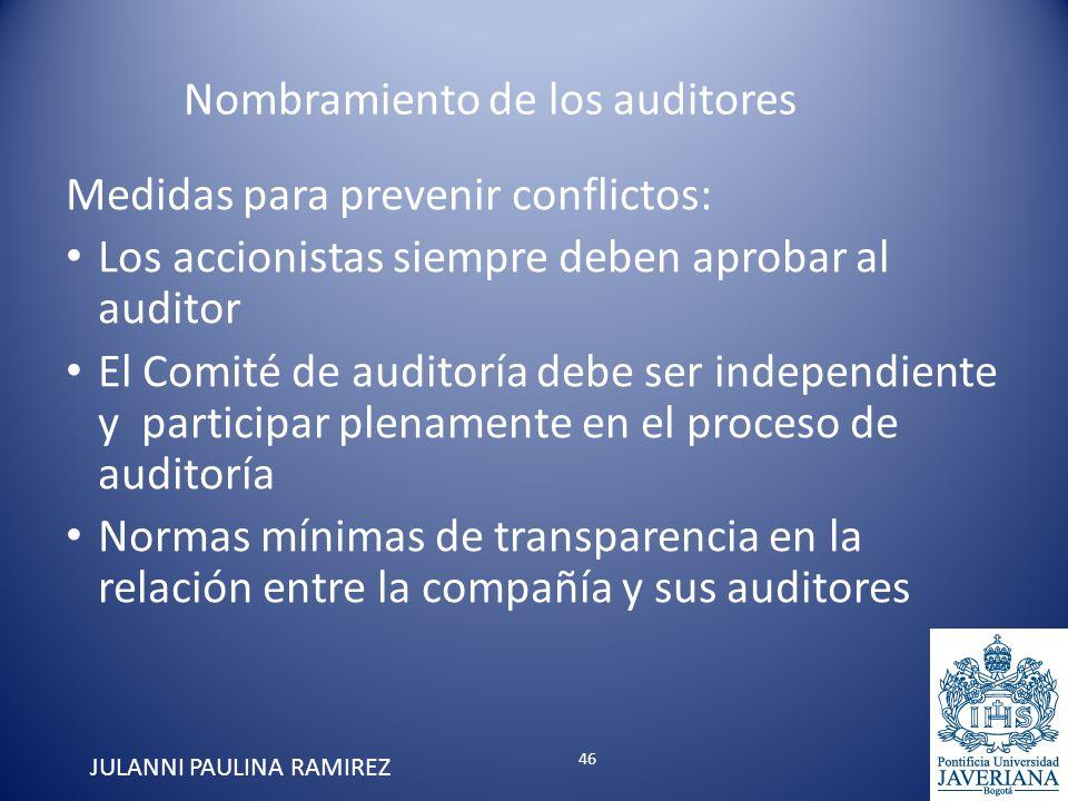 Medidas para prevenir conflictos: Los accionistas siempre deben aprobar al auditor El Comité de auditoría debe ser independiente y participar plenamen