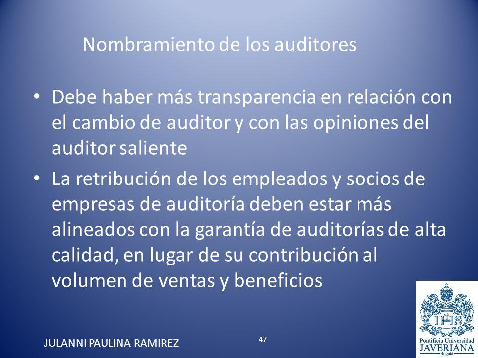 Debe haber más transparencia en relación con el cambio de auditor y con las opiniones del auditor saliente La retribución de los empleados y socios de
